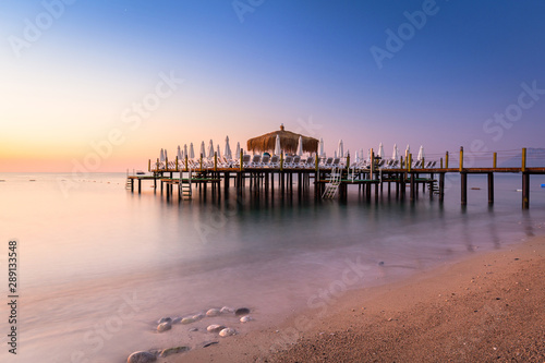 Beautiful sunrise at the beach of Turkish Riviera, Tekirova