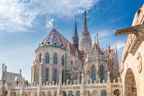 The Matthias Church in Budapest, Hungary, Europe. View from the Fisherman's Bastion.