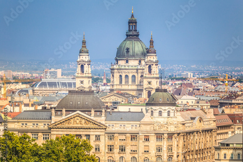In de dag Moskou Budapest, top view of historic buildings with St. Stephen's Basilica, Hungary, Europe.