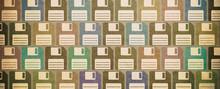 Vintage Floppy Disks Textured Background