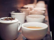 Chinese Tea In White Tea Pot A...