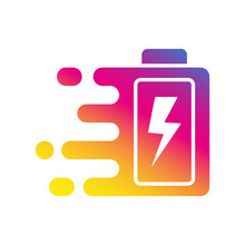Quick And Fast Battery Charging Icon With Thunder Sign. Quick Charge Logo. Vector Illustration. EPS 10.
