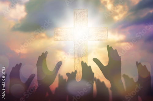 Fotomural Blurred of Christian Congregation hands Worship God together in front of wooden