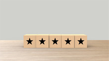 Wooden Cube Five Black Star Re...