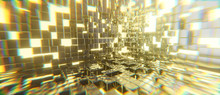 Abstract Golden Cubes Lighting Explosion Sci Fi Background, 3d Rendering.
