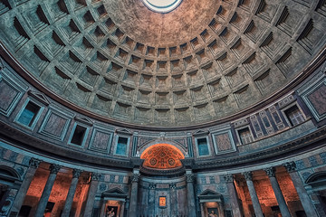 Inside the famous Pantheon in Rome