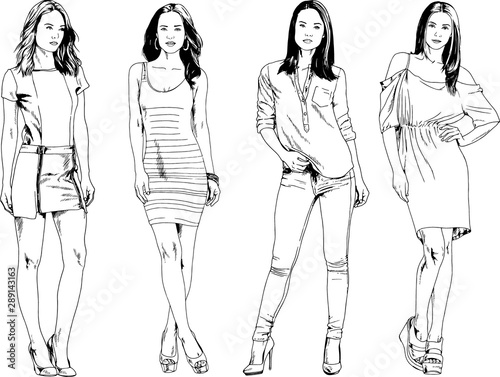 Fototapeta  vector drawings on the theme of beautiful slim sporty girl in casual clothes in