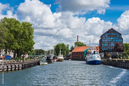Photo Ships at embankment at Dane River Klaipeda; Lithuania