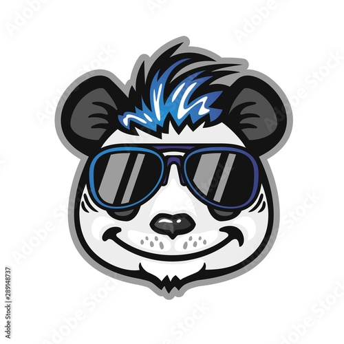 Panda head with blue hair and sunglasses, anthropomorphic panda Canvas Print