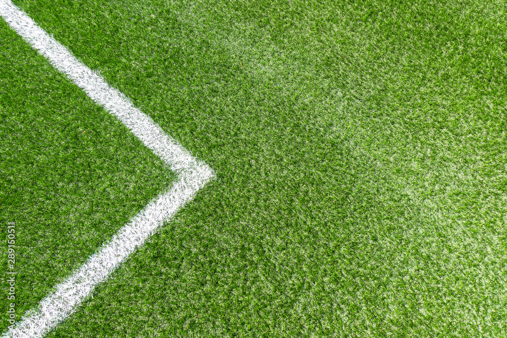 Fototapety, obrazy: Green synthetic artificial grass soccer sports field with white corner stripe line