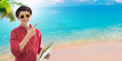 Leinwandbild Motiv young man with map and beach paradise background