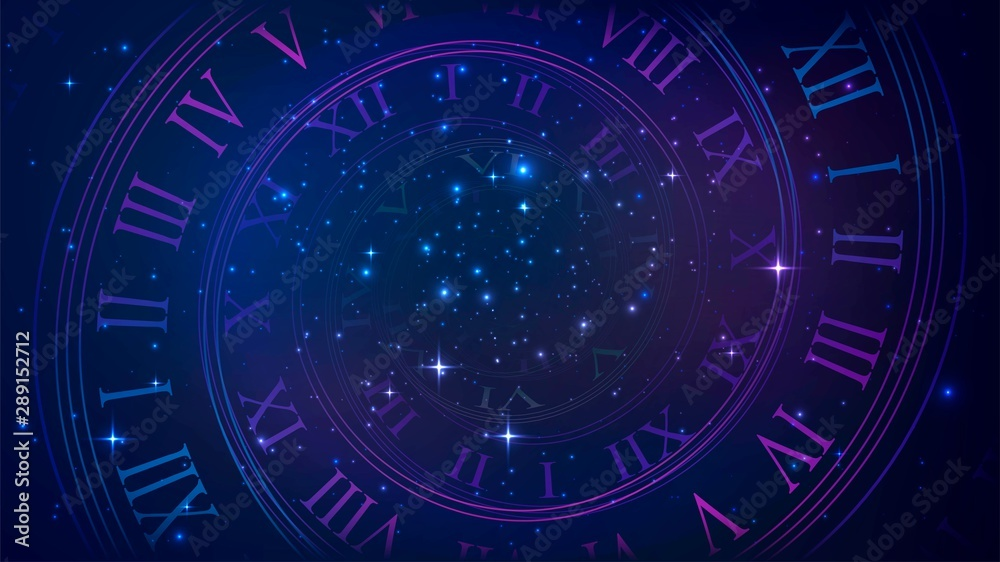 Fototapeta Background with spiral dial, clock in space. Time, eternity, universe metaphor