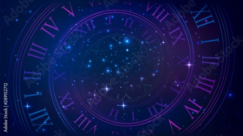 Obraz Background with spiral dial, clock in space. Time, eternity, universe metaphor - fototapety do salonu