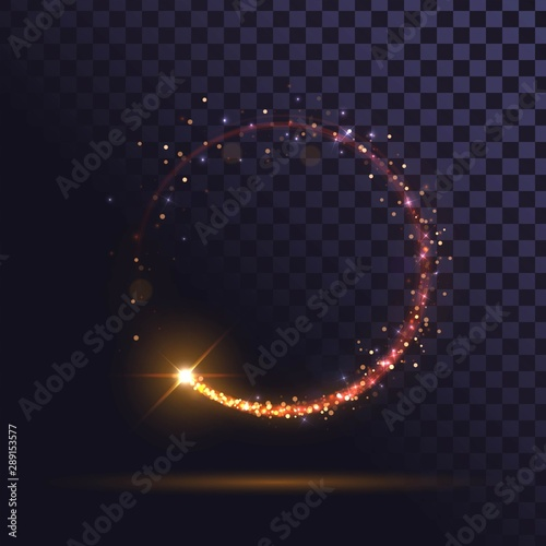 Photo  Orange flash, glowing ring, shiny spin effect with sparks