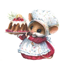 Watercolor Mouse Illustration With Christmas Cake