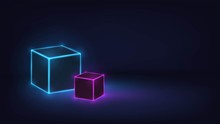 Glowing Neon Cubes In A Dark Room, Concept: Security, Technology, Databases