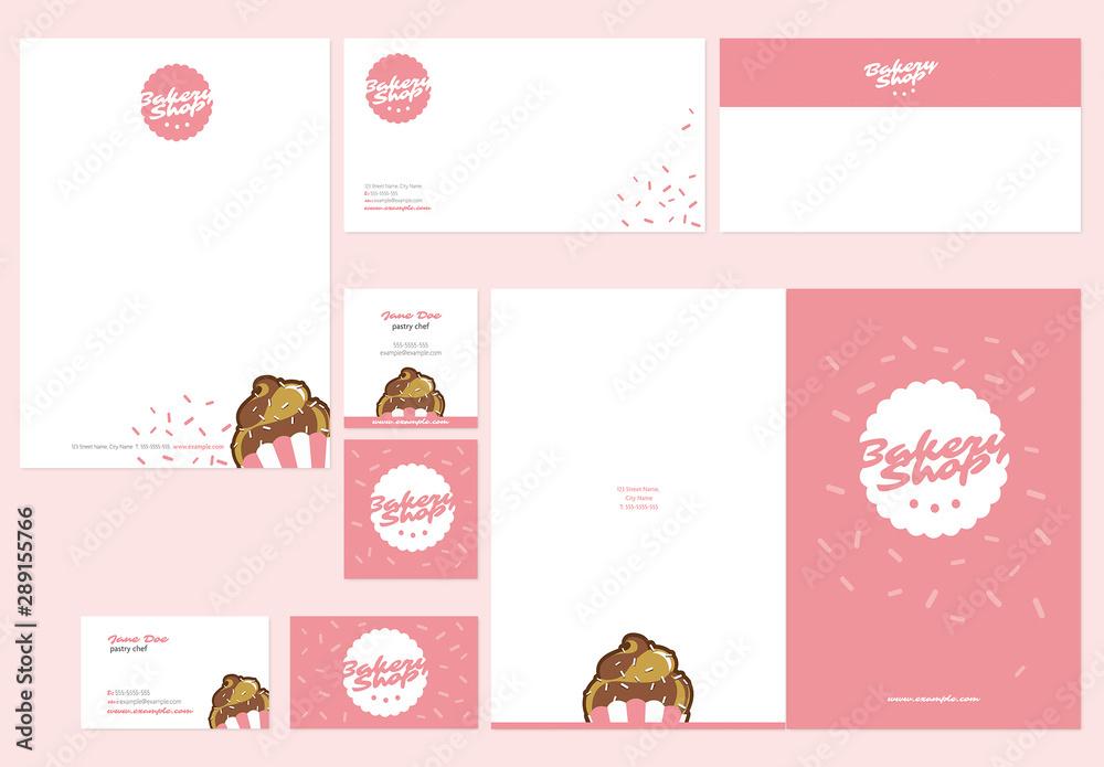 Fototapeta Pink Bakery Stationery Layout Set