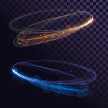 Abstract Glowing Rings On Transparent Background. Fast Spin Effect