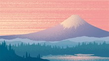 Vector Illustration With Mount Fuji, Sunset, Japanese Landscape