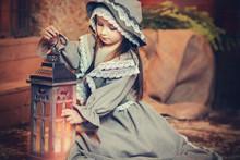 Beautiful Girl In Retro Dress ...