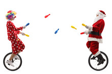 Clown And Santa Claus Riding Unicycles And Juggling