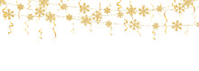 Christmas Or New Year Golden Snowflake Decoration Garland On White Background. Hanging Glitter Snowflake. Vector Illustration