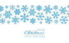 Shining Glitter Glowing Blue Snowflakes On White Background. Christmas And New Year Background. Vector Illustration
