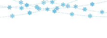 Christmas Or New Year Blue Decoration On White Background. Hanging Glitter Snowflake. Vector Illustration
