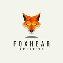 Geometric Fox Head Logo - Vector Illustration On A Light Background