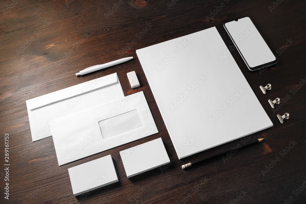 Obraz Blank stationery and corporate identity template on wooden background. Responsive design mockup. fototapeta, plakat