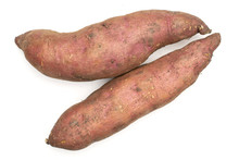 Group Of Two Whole Fresh Brown Sweet Potato Flatlay Isolated On White Background