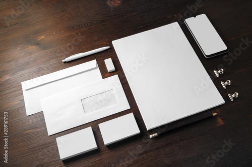 Fototapeta Blank stationery and corporate identity template on wooden background. Responsive design mockup. obraz