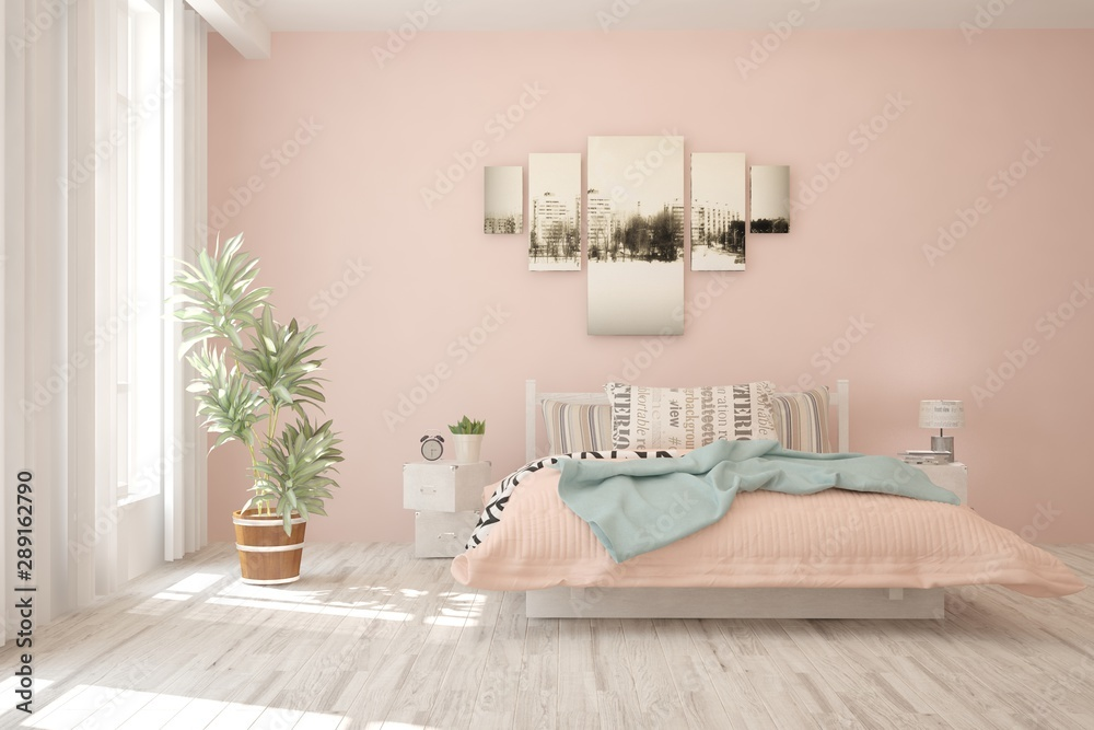 Fototapety, obrazy: Stylish bedroom in pink color. Scandinavian interior design. 3D illustration