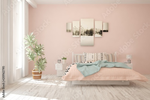 obraz dibond Stylish bedroom in pink color. Scandinavian interior design. 3D illustration