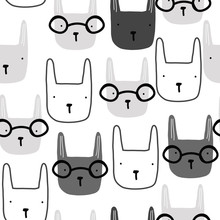 Seamless Pattern With Bunny Face. Kids Monochrome Print. Vector Hand Drawn Illustration.