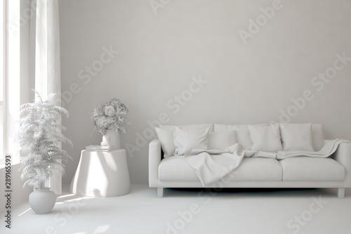 Fototapeta Mock up of stylish room in white color with sofa. Scandinavian interior design. 3D illustration obraz na płótnie