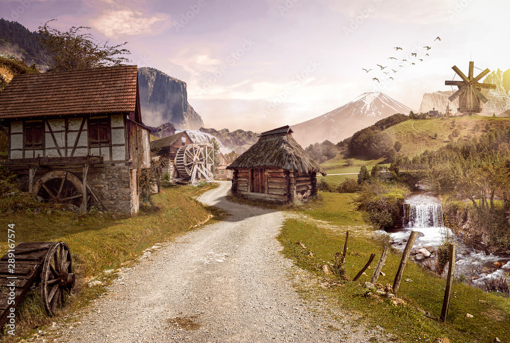 Fototapeta Illustration of an old medieval (ranch) village - concept of peace, tranquility and hope