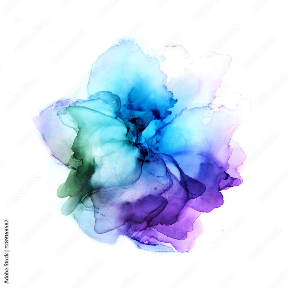 Fototapeta Delicate hand drawn watercolor flower in blue and violet tones. Alcohol ink art. Raster illustration.