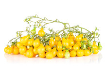 Lot Of Whole Fresh Yellow Pear Tomato In Cluster Isolated On White Background