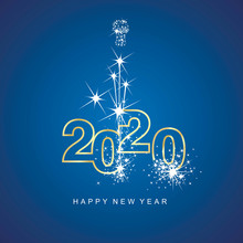 Happy New Year 2020 Firework Gold Line Design Numbers Blue Background