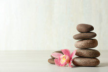 Stack Of Spa Stones And Flower...