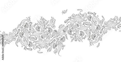 Obraz na plátne Motif de feuilles, envol floral, saison automne, dessin au trait, ornement pour