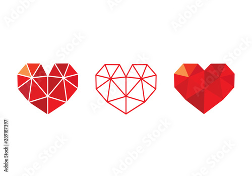 Obraz na plátne Low poly red  heart icon set, love symbol collection - Vector