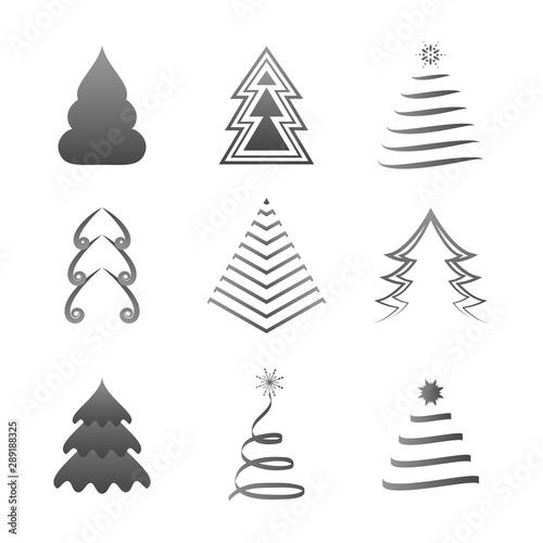 Christmas Tree Icons.Abstract Christmas Tree Icons Gray Silhouette Set