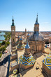 Aerial cityscape view of basilica of Our Lady in Zaragoza city in Spain .