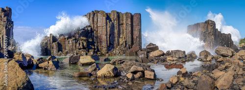 Obraz Panorama of waves breaking over basalt rock formations and rockpools at Bombo Headland quarry, New South Wales coast, Australia - fototapety do salonu