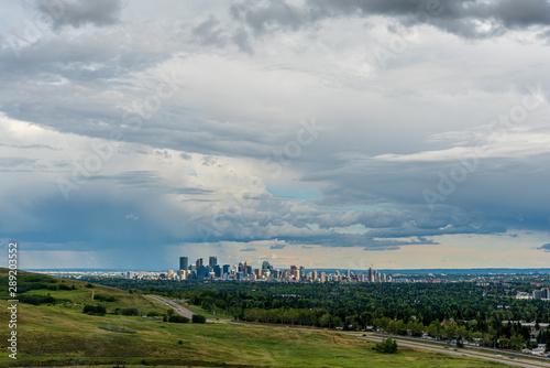 Staande foto Bleke violet Skyline of the city Calgary, Alberta, Canada