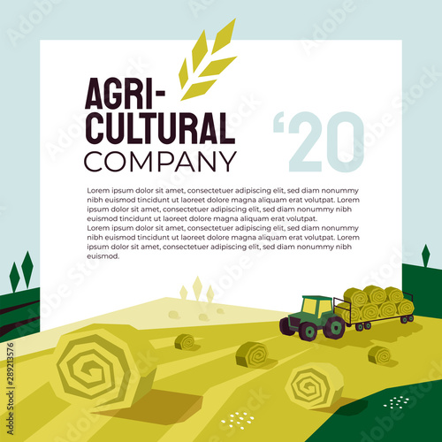 Fototapeta Illustration of agriculture with tractor, hayfield, haystack rolls, farm land, field. Agricultural company poster. Template for banner, annual report, print, flyer, layout, landing page, website, blog obraz
