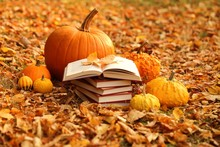 Autumn Books. Reading Books About Autumn.Halloween Books. Stack Of Books And  Pumpkins Set On Autumn Foliage On Blurred Nature Background