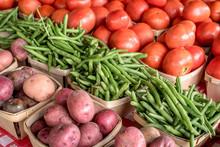 Farmers Market Produce Tomatoes Corn And Squash